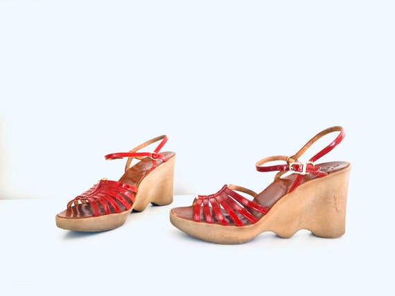70s Platform Wedge Sandals Famolare Sandals Red Le