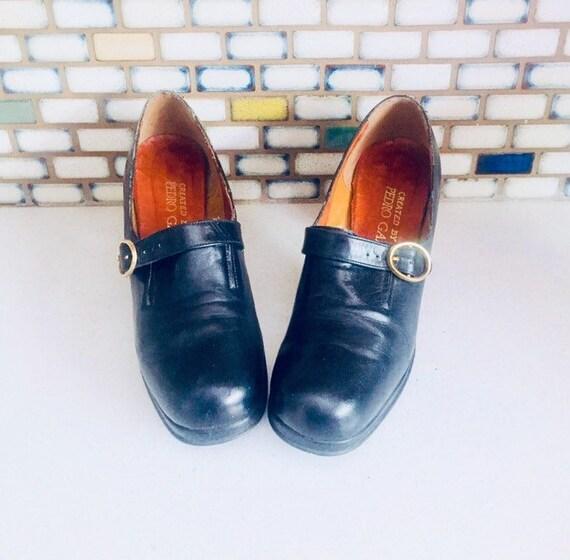 60s Black Leather Platform Shoes Booties Size 7.5