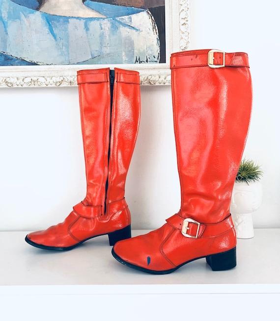 60s Red Vinyl Go Go Boots Heels Size 5 5.5 M