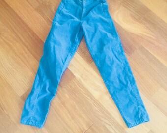 70s Blue Corduroy Jeans Pants High Waist Chemin De Fer Chemindefer Size 25 S XS