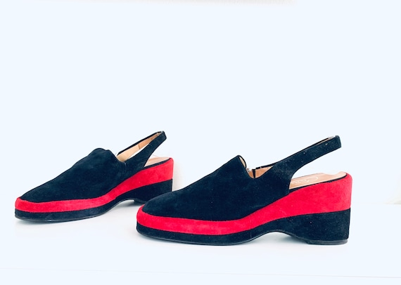 70s Platforms Mules Colorblock Suede Closed Toe Si
