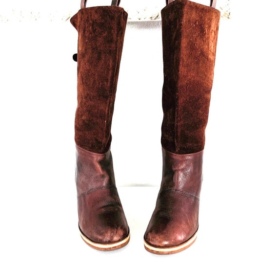 70s Platform Boots Leather Chunky Heels made in Br