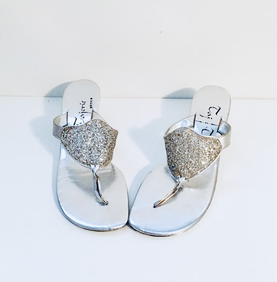 865871a4a3ef 60s Silver Metallic Sandals Slides Mules Heels Size 8 M 38 39
