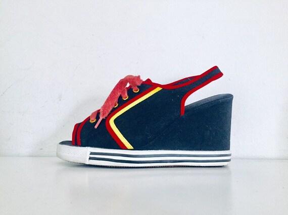 70s Platform Sneakers Open Toe Platforms Size 9M 4