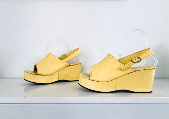 70s Platforms Shoes Yellow Leather Platform Sandal