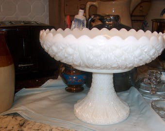 Vintage Milk Glass Compote, Daisey & Button