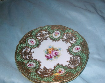 2 Antique Vintage Green/ Gold/ White  Plates