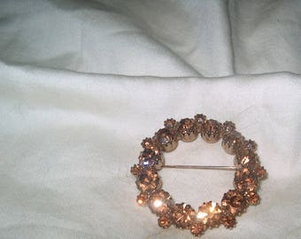 Vintage Costume Jewelry Amber Rhinestone Circle Brooch Pin