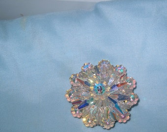 Vintage Costume Jewelry Crystal Glass Brooch Pin, WAS 30.00 - 20% =  24.00