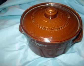 Vintage Brown Stoneware Pot w/ Lid, England, Oven Ware