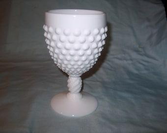 Vintage Fenton Hobnail Glass Goblet, Milk Glass