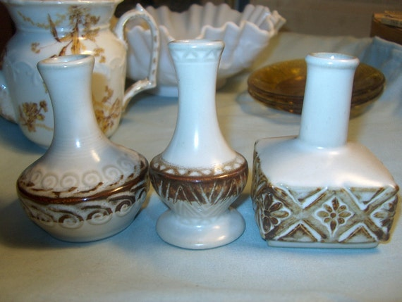 3 Vintage Pottery Vases Small Was 2500 50 1250 Etsy