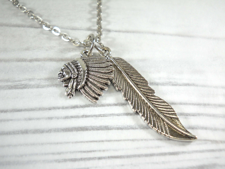 Vintage Silver Tone Feather Pendant