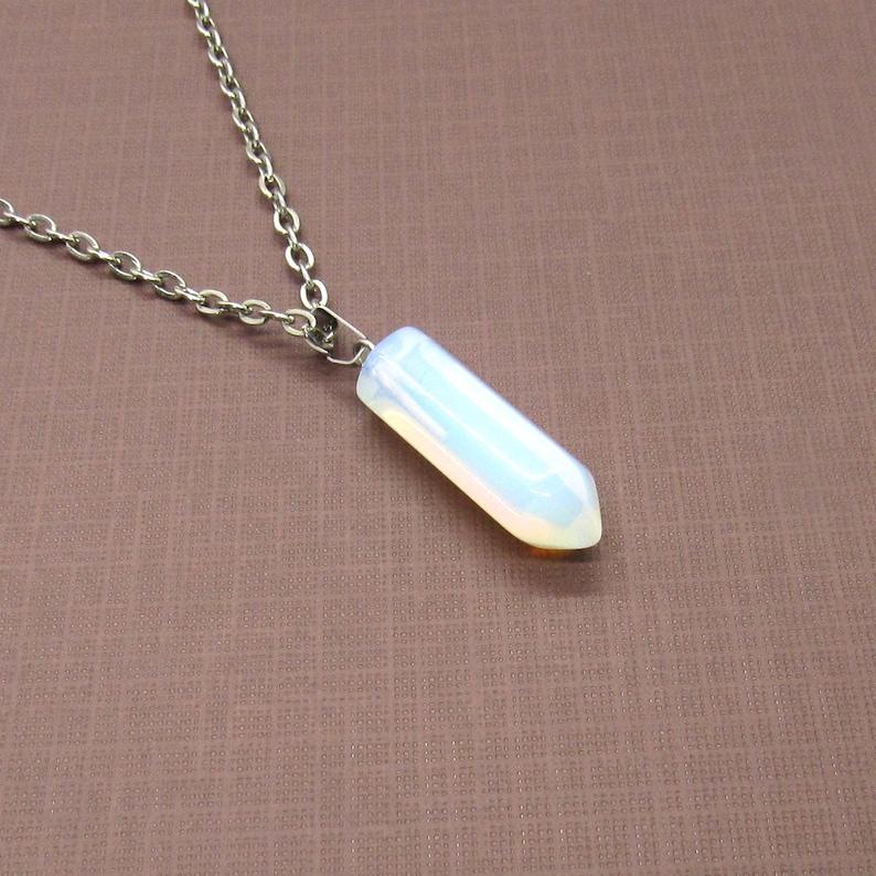 Opal Gemstone Bullet Point Pendant Necklace Women/'s Necklace Opal Pendant Necklace Men/'s Necklace