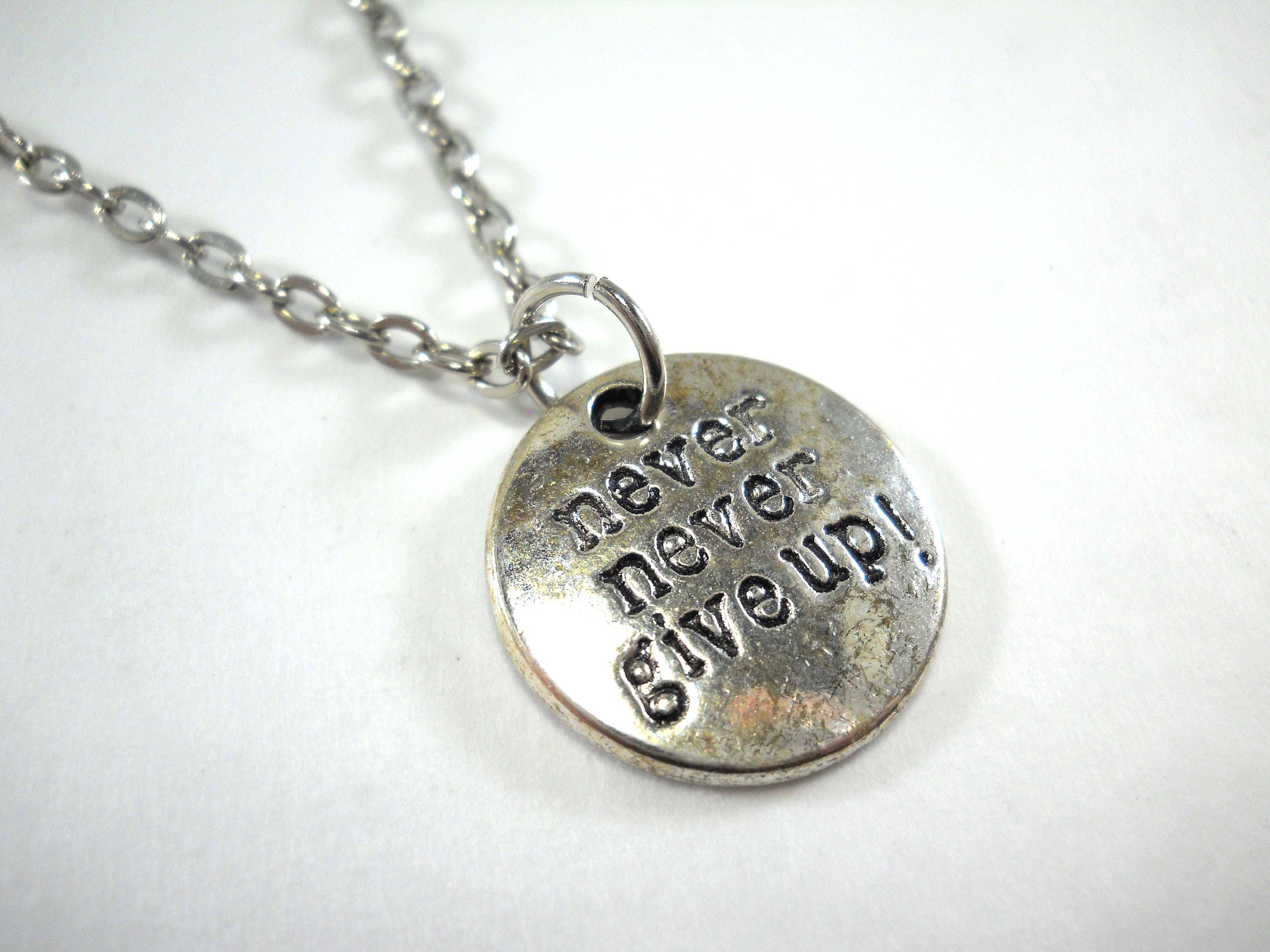 Never never give up charm pendant necklace antique silver tone never never give up charm pendant necklace antique silver tone motivational charm necklace mens necklace gift for men womens necklace aloadofball Images