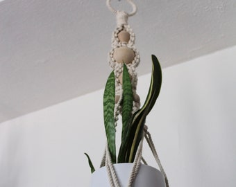 Long, Chunky Macrame Plant Hanger with Large Wooden Beads