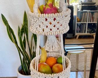 Macrame 2-Tiered Hanging Fruit Basket