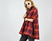 Vintage 60 39 s Tartan Check Wool Zip UP Cape Jacket