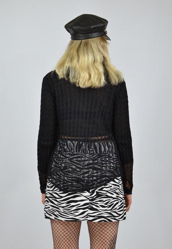 Blinged Out Sheer Black Mesh 34 Sleeves Shirt 90\u2019s Vintage M