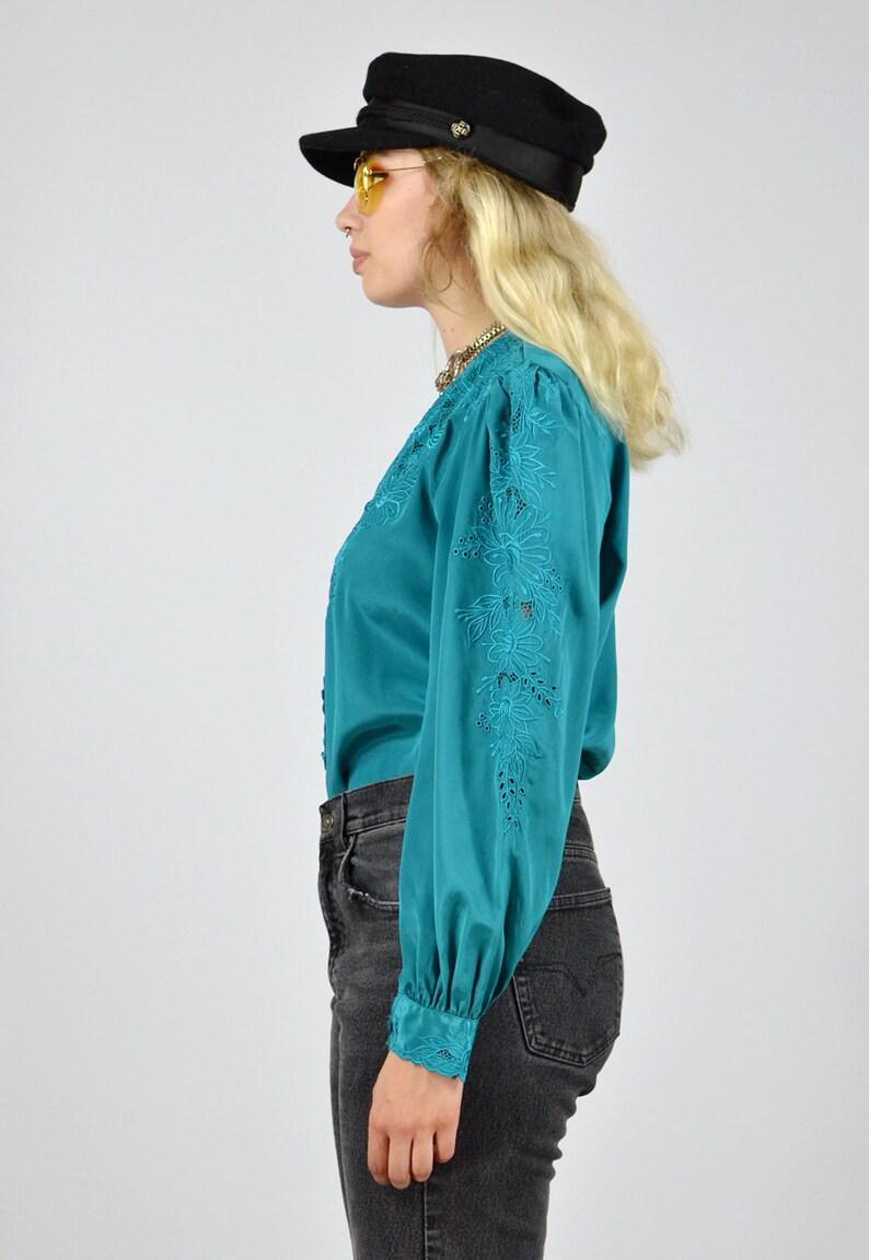 Vintage 80/'s Floral Silk Blouse