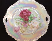 Pierced Double Handle Cake Plate, Opalescent Glaze, Pink and White Rose Transfer, Grener Herda (G H) Bavaria C. 1900