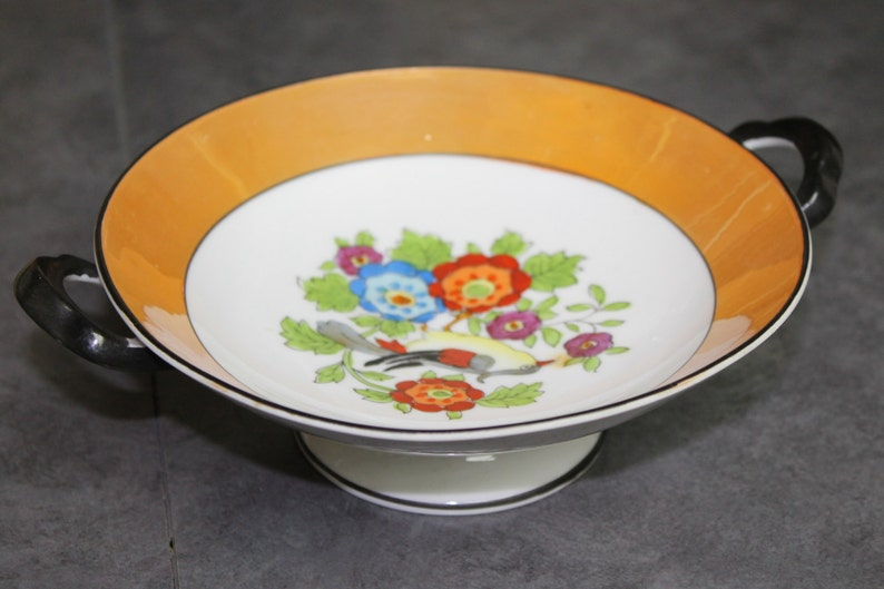 Lusterware Hand Painted Japan Footed Porcelain Bowl with Handles Circa 1940/'s