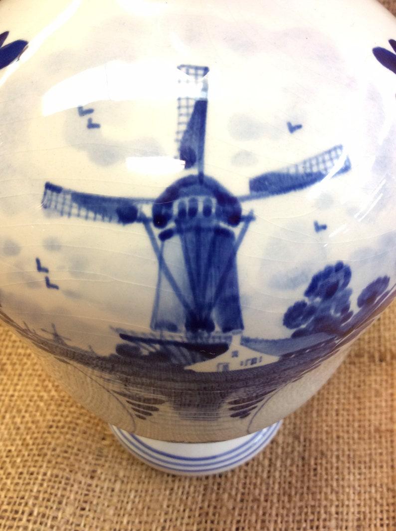 Vintage Dutch Porcelain Delft Blue and White Decanter with Cork Top Windmill Souvenir Holland Herman Jansen