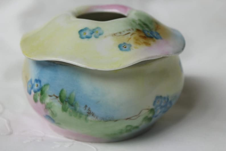 Porcelain Hair Receiver Circa 1900-1910 RS Germany Hand Painted with Muted Shades of Blue Green and Pink