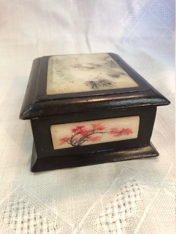 Chinese Wooden Trinket Box, Inlayed, Hand Painted