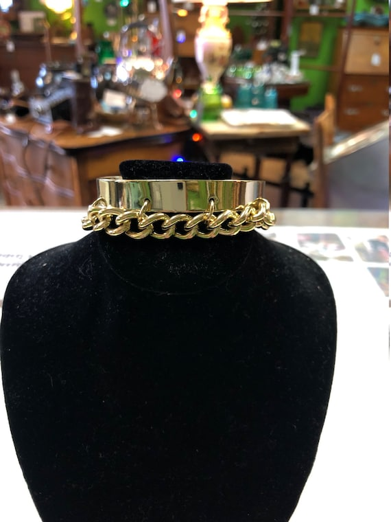 Gold Cuff and Chain Bracelet C.1970-1980/'s