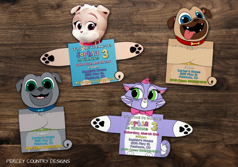 PUPPY DOG PALS Birthday Invitations Party Bingo and Rolly Keia Hissy Kid  Boy Girl Invites Arms Folded Printed Pug Cat Toddler Kitty