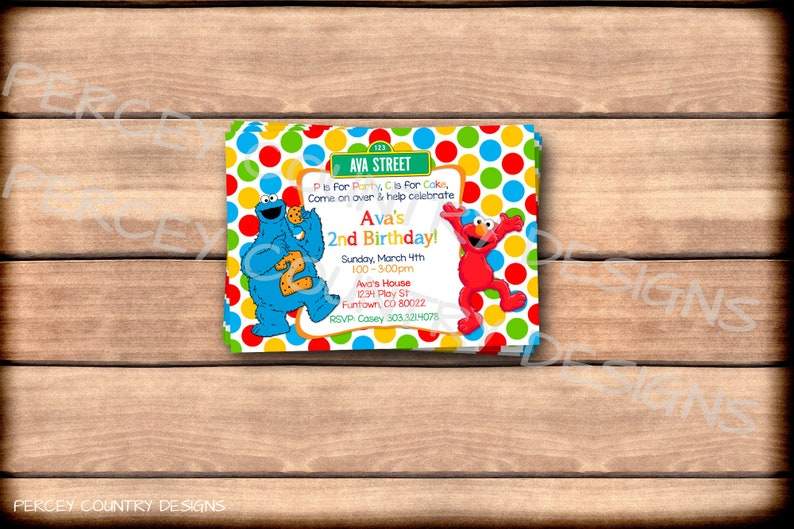 Professionally Printed SESAME STREET INVITATIONS Birthday Party Invite Elmo  Cookie Monster 2nd 1st First Second Rainbow Polka Dots 4x6 5x7