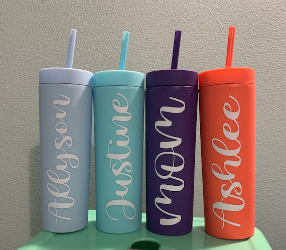 Personalized Tumbler with Straw Lid and Straw - Custom Tumbler with Straw 16 oz Gift Personalized Tumbler with Straw -Clear Tumbler