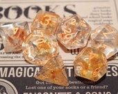 Summer Flower - Clear Resin - 7 set dnd polyhedral dice for D D - Dungeons and Dragons D20