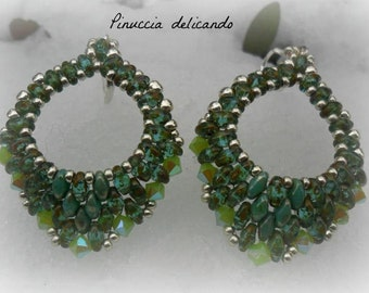 Tutorial  with superduo, only in English, pattern in English, tutorial for beginner pdf, Pattern Easy, Mini Rondo' Earrings, Rosina Ottolini