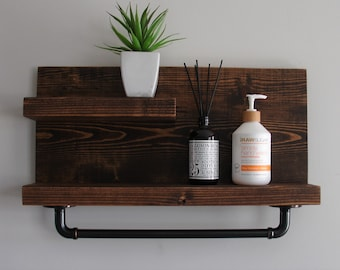 Modern Rustic 2 Tier Bathroom Shelf with 18