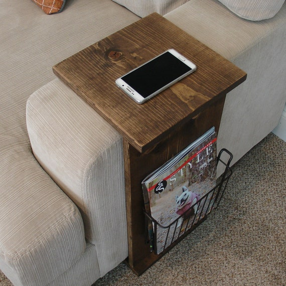 Enjoyable Sofa Chair Arm Rest Tray Table Stand With Side Storage Rack For Magazines Lamtechconsult Wood Chair Design Ideas Lamtechconsultcom