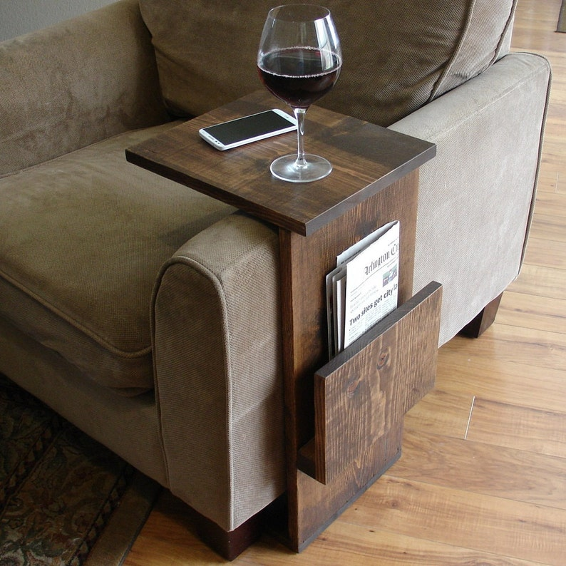 Sofa Chair Arm Rest Tray Table Stand With Side Storage Slot For Magazines
