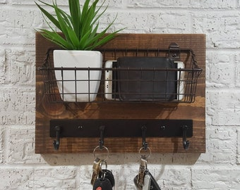 Simply Rustic Mail Organizer Shelf with Basket and Key Hooks