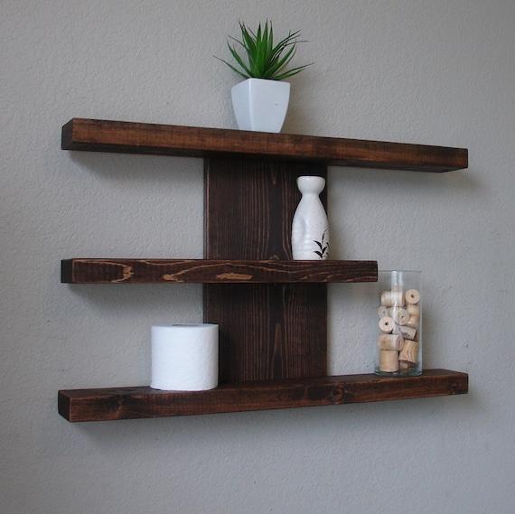 modern rustic 3 tier wall shelf etsy rh etsy com 3 tier wall shelf for bathroom 3 tier wall shelf wood