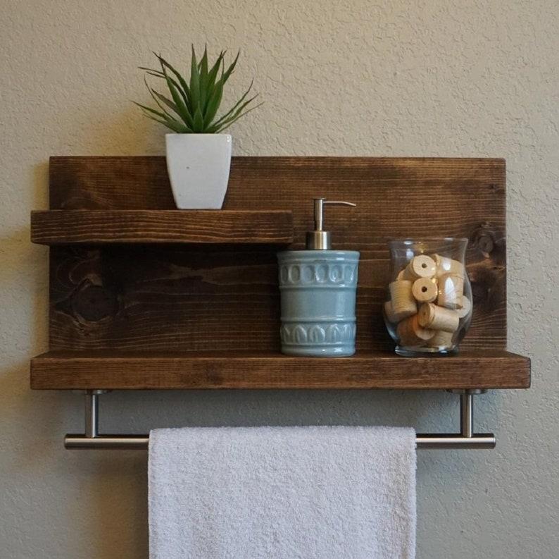 Modern Rustic 2 Tier Bathroom Shelf with 18 Brushed image 0