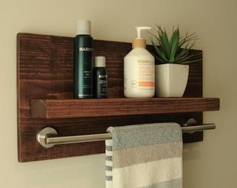 "Simply Modern Rustic Bathroom Shelf with 18"" Brushed Nickel Towel Bar"