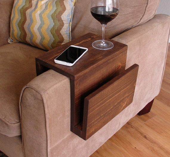 Simply Awesome Couch Sofa Arm Rest Wrap Tray Table With Side Etsy