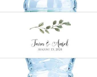 Water Bottle Label Wedding Water Bottle Label Waterbottle Label Personalized Waterproof Label Labels Eucalyptus Branch Greenery Botanical