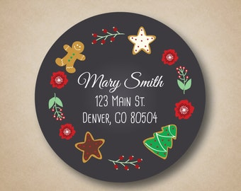 Holiday Return Address Label Christmas Cookies Chalkboard Stickers Rustic Round Labels Evergreen Sprig Address Stickers Gingerbread Man Star