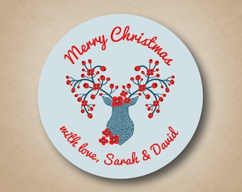 Christmas Gift Label Christmas Gift Sticker Christmas Stickers Christmas Tags Scandinavian Deer Holiday Tags Holiday Stickers Holiday Labels