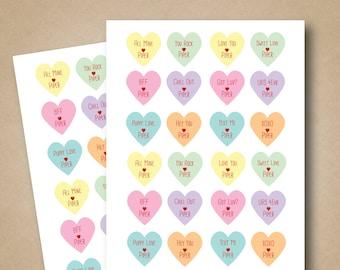 Valentines Stickers Conversation Hearts Stickers Kids Valentines Labels Personalized Heart Stickers Favor Stickers Valentines Day Tags