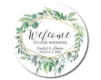 Wedding Stickers Wedding Welcome Stickers Welcome Labels Welcome to Our Wedding Out of Town Guests Hotel Gift bag label Geometric Greenery