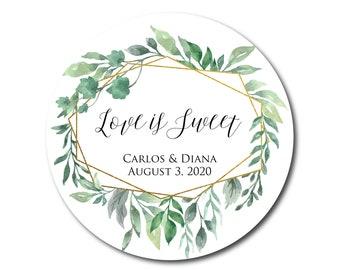 Wedding Stickers Love is Sweet Stickers Wedding Favor Stickers Wedding Favor Labels Geometric Greenery Love is Sweet Labels Favor Tags Gold
