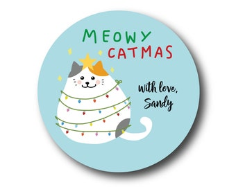 Christmas Stickers - Meowy Catmas Cat Christmas Gift Labels Whimsical Kitty Christmas Stickers Cat Lovers Gift Packaging Cute Kitty